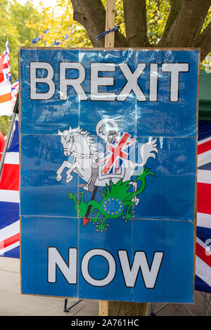 Westminster, London, UK. 29th October, 2019. A Brexit placard outside the House of Commons on the day a General Election is called. Credit: Maureen McLean/Alamy - Stock Photo