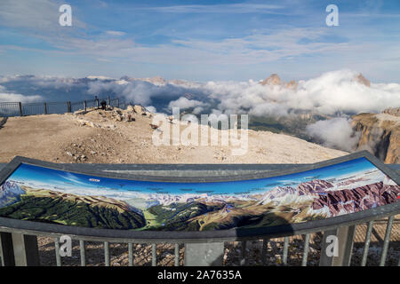 Sass Pordoi viewpoint 2,950 m, the so-called Terrace of the Dolomites and the most spectacular of all viewpoints - Stock Photo