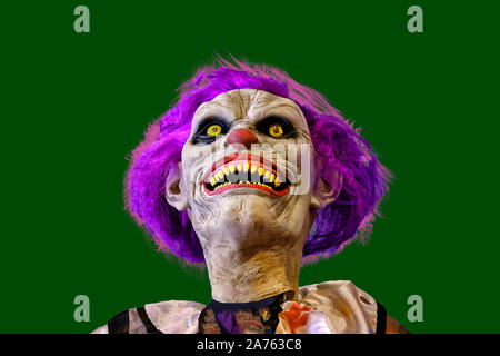 The head of a Halloween monster clown isolated on a black background - Stock Photo