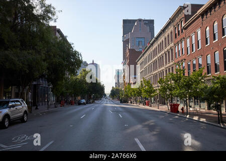 looking along west main street from the historic district early morning downtown louisville kentucky USA - Stock Photo