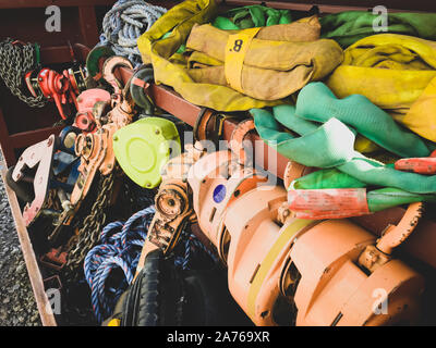 Storage steel box with ropes and chains for cranes - Stock Photo