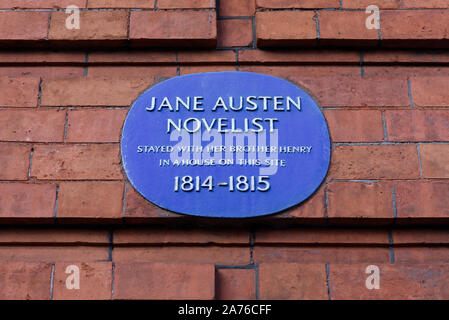 Jane Austen stayed in a house on this site with her brother Henry, blue plaque London - Stock Photo
