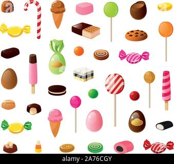 Vector illustration of various kinds of candy, sweets, ice cream and cookies. - Stock Photo
