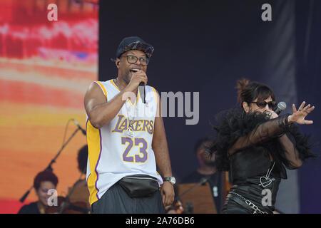 Rio de Janeiro, Brazil, October 5, 2019. Singer Buchecha during his Rock in Rio 2019 concert in Rio de Janeiro - Stock Photo