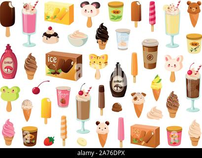 Vector illustration of various kinds of ice cream, sorbet and frozen dairy products - Stock Photo