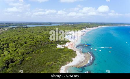 Aerial view of sandy beach along rocky coastline, evergreen trees, Baia dei Turchi, in southern Italian region of Puglia, over blue waters of Adriatic