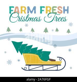 Farm fresh Christmas trees flat color vector poster. Winter holidays hand drawn cartoon. Christmas tree transportation on sleigh. Fun banner of trees - Stock Photo