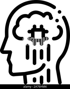 Head Nerve Impulses Biohacking Icon Vector Illustration - Stock Photo