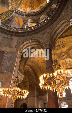 Lighting inside Ayasofia or Hagia Sofia in Sultanahmet, Istanbul, Turkey, taken on the ground floor. Built in 537 AD as a church, it was converted int - Stock Photo