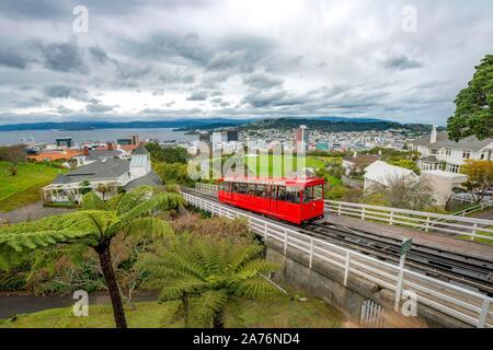 Historic cog railway, Wellington Cable Car, Wellington Region, North Island, New Zealand - Stock Photo