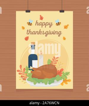roasted turkey wine candle foliage hanging happy thanksgiving poster vector illustration