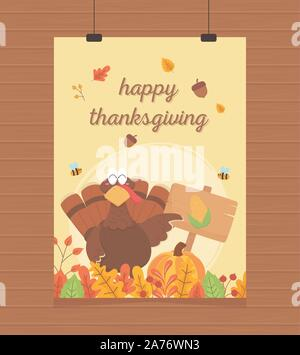 happy thanksgiving poster hanging turkey with pumpkin board corn leaves vector illustration