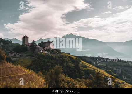 Panoramic view of Tyrol Castle, Italy. - Stock Photo