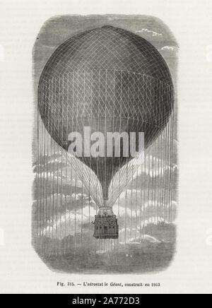 The Giant (le Geant) balloon, built in 1863 for Felix Nadar. Woodblock engraving from Louis Figuier's 'Les Merveilles de la Science: Aerostats' (Marvels of Science: Air Balloons), Furne, Jouvet et Cie, Paris, 1868. - Stock Photo