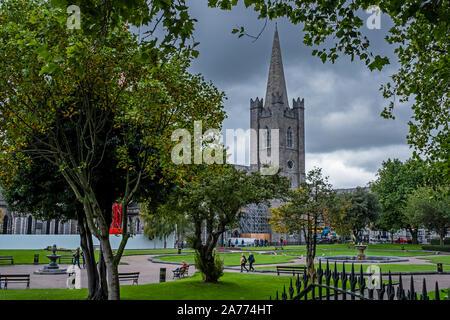 St Patrick's Cathedral from St Patrick's Park, Dublin, Ireland - Stock Photo