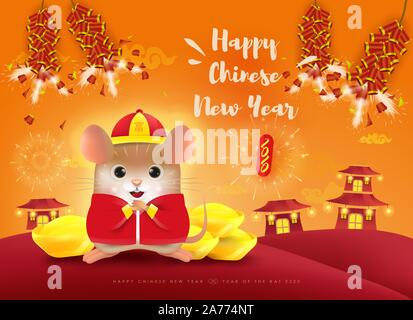 Happy New Year 2020. Chinese New Year. The year of the rat. Translation: Happy Chinese New Year. - Stock Photo