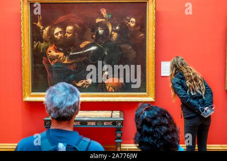 `The Taking of Christ´ by Michelangelo Merisi da Caravaggio , National Gallery of Ireland, Dublin, Ireland. - Stock Photo