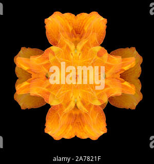 Yellow orange ornamental cross created of macros of daylilies on black background in vintage painting style - Stock Photo