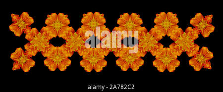 Yellow red ornamental fence created of macros of daylilies on black background in vintage painting style - Stock Photo
