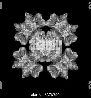 Monochrome white ornamental cross created of macros of blooms on black background in vintage painting style - Stock Photo