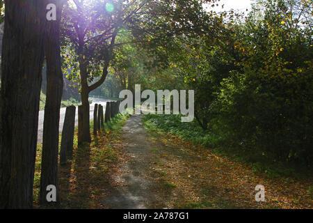 A deserted picnic spot in late October in Colfiorito nature reserve in Umbria, Italy near the town of Foligno and very near the village of Colfiorito - Stock Photo