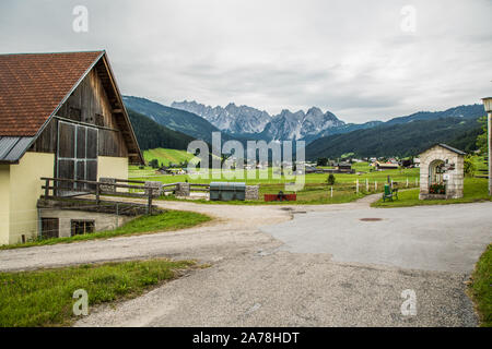 Austria - July, 2019: Country road in the alps - Stock Photo