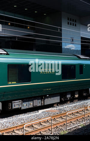Kyoto / Japan: September 2019: The Twilight Express Mizukaze at the Kyoto main train station. A design sleeper train that is also a hotel for a superi - Stock Photo