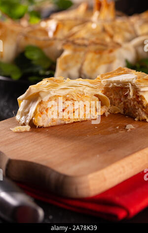 Chicken mince cutlet in fillo dough - Stock Photo
