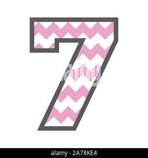 7 Seven Chevron Number w colorful pink and white pattern and grey border - Stock Photo