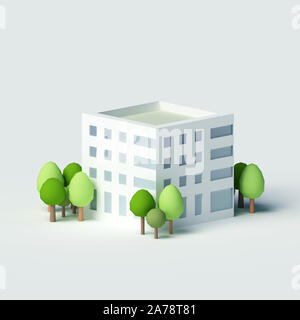 High-rise residential building.  3d rendering, 3d illustration. - Stock Photo