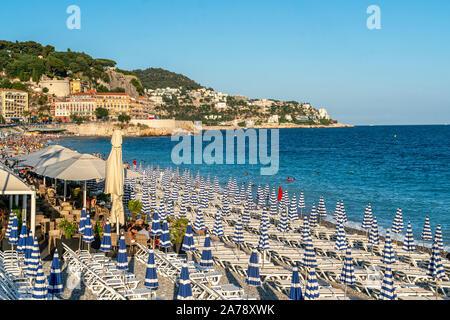 Plage Promenade des Anglais, Nice, France, - Stock Photo