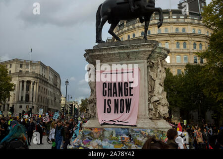 Environmental campaign group Extinction Rebellion hold days of protests in Central London - October 2019. - Stock Photo