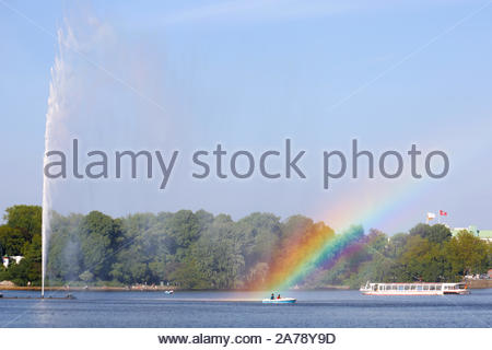 HAMBURG, GERMANY - JUNE 2019 Hamburg City Tourist Boat, Fountain and Rainbow at Inner Alster 0510 - Stock Photo