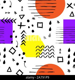 Handdrawn black brush stroke and geometric figure seamless pattern. Memphis style pattern. Abstract background. - Stock Photo