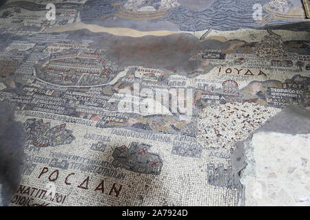 Mosaic Map, Greek Orthodox Church of St George (Church of the Map), King Talal Street, Madaba, Madaba Governorate, Jordan, Middle East - Stock Photo