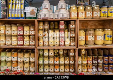 Edmond Fallot mustard, Dijon, Burgundy, France, - Stock Photo