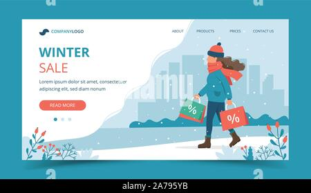 Woman with sales bags in winter. Landing page template. Cute vector illustration in flat style. - Stock Photo