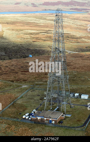 aerial view of Windy Hill Transmitter on the Pennines, Littleborough OL15, UK - Stock Photo