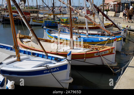 Colourfull traditional fishing boats in the harbour, Sanary sur Mer , Cote d'Azur, France - Stock Photo