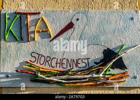 Day nursery Storchenest ( stork´s  nest ) in Linum, Brandenburg , East Germany - Stock Photo