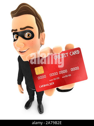 3d thief holding credit card illustration, illustration with isolated white background - Stock Photo