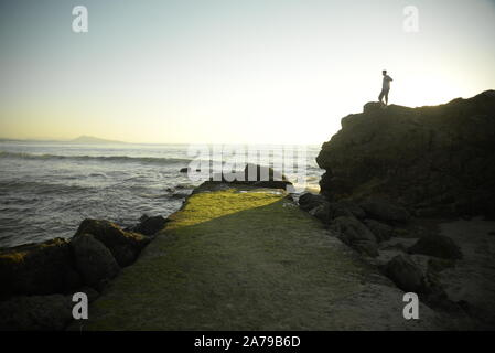 South-West France. Causeway on the Basque coast, pasakdek - Stock Photo