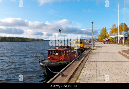 Puumala, Finland–October 5, 2019: Boats on the bank of The Saimaa Lake. Puumala Municipality. Southern Savonia (Savo) Region - Stock Photo