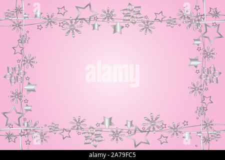 Christmas frame with stars and copy space - Stock Photo