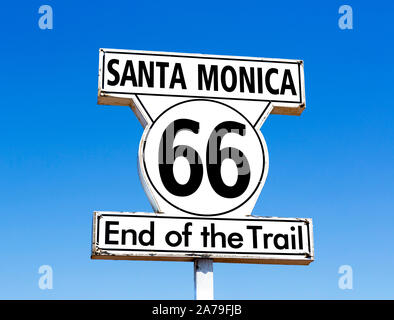 Sign for the end of Route 66 on Santa Monica Pier, Santa Monica, Los Angeles, California, USA - Stock Photo