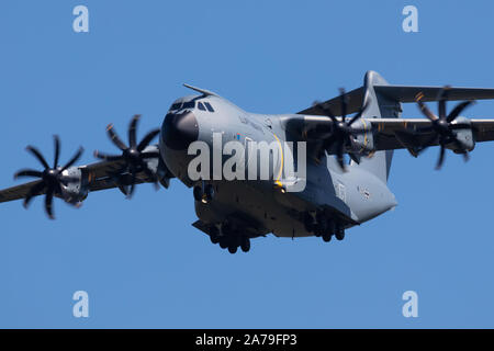 Zeltweg / Austria - September 5, 2019: German Air Force Luftwaffe Airbus Military A400M Atlas 54+19 military transport plane arrival and landing for A - Stock Photo