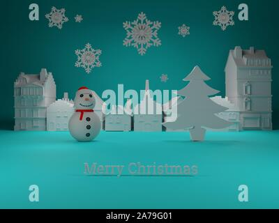 Christmas Village with snowman and christmas tree with snowflakes with blue background Illustration - Stock Photo