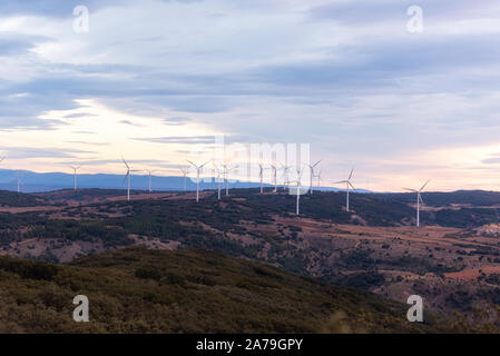 Windmill for electric power production. Landscape with Turbine Green Energy Electricity .