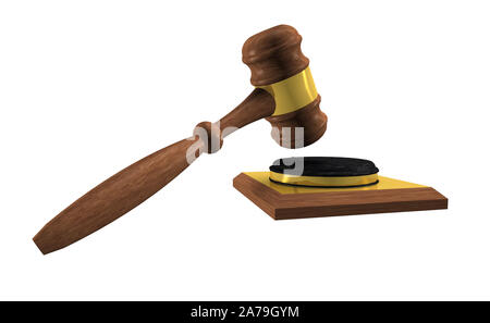 Judge hammer made of wood isolated on white background