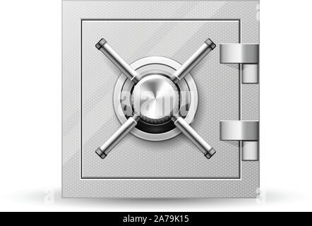 Vault with handle wheel - safe door, strongbox with rotary valve opener - Stock Photo